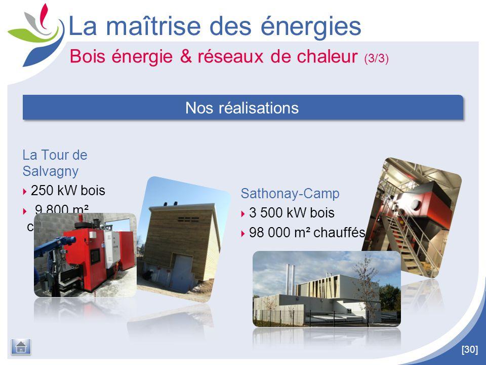 [30] La Tour de Salvagny  250 kW bois  9 800 m² chauffés La maîtrise des énergies Nos réalisations Sathonay-Camp  3 500 kW bois  98 000 m² chauffé