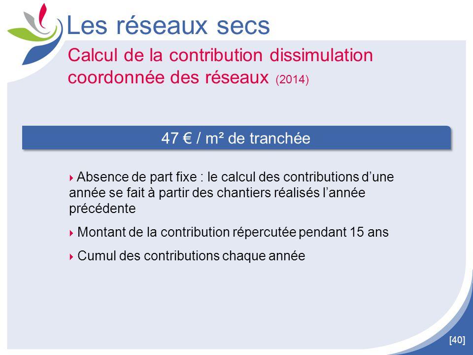 [40] Les réseaux secs Calcul de la contribution dissimulation coordonnée des réseaux (2014) 47 € / m² de tranchée  Absence de part fixe : le calcul d