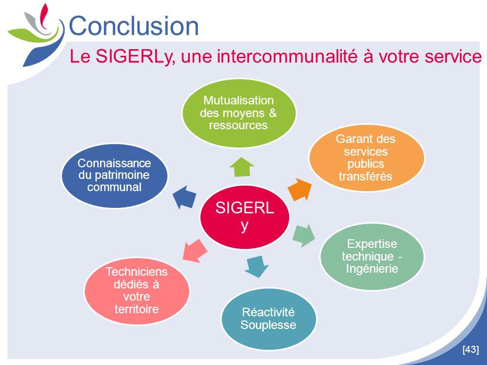 [43] Conclusion Le SIGERLy, une intercommunalité à votre service SIGERL y Connaissance du patrimoine communal Réactivité Souplesse Expertise technique