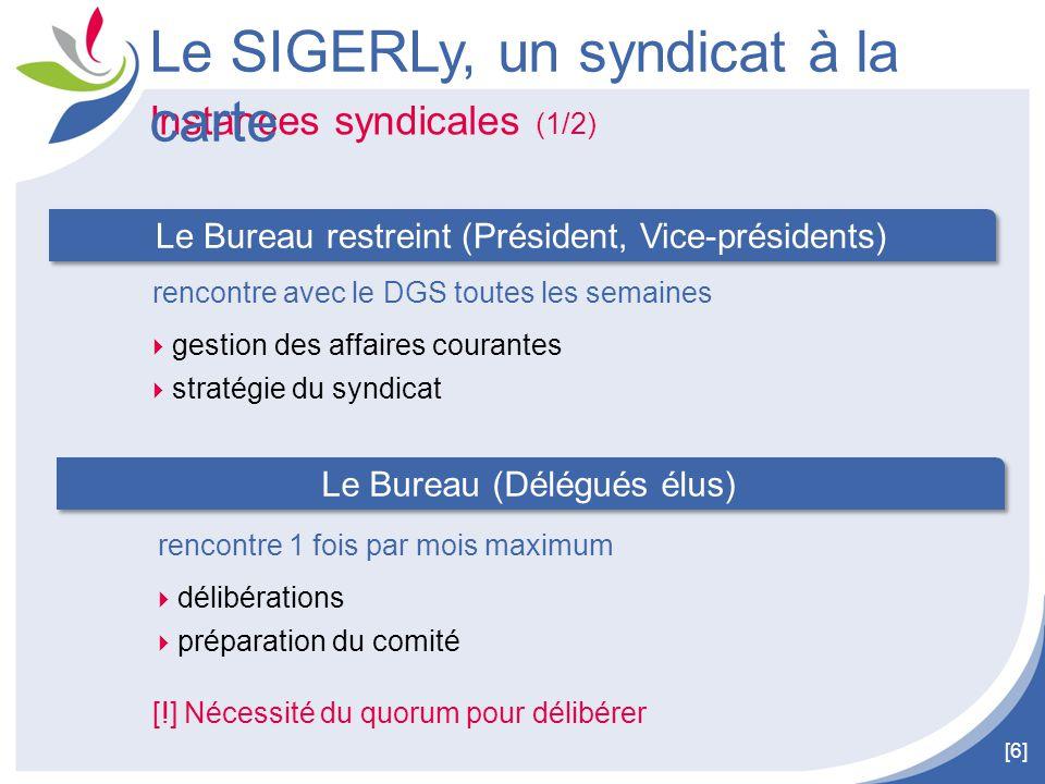 [6] Instances syndicales (1/2) Le SIGERLy, un syndicat à la carte rencontre avec le DGS toutes les semaines  gestion des affaires courantes  stratég