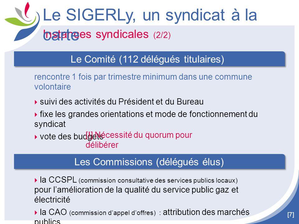 [7] Instances syndicales (2/2) Le SIGERLy, un syndicat à la carte  la CCSPL (commission consultative des services publics locaux) pour l'amélioration