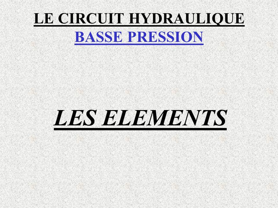 LE CIRCUIT HYDRAULIQUE BASSE PRESSION LES ELEMENTS