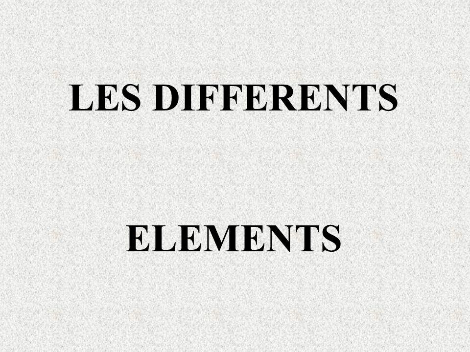 LES DIFFERENTS ELEMENTS