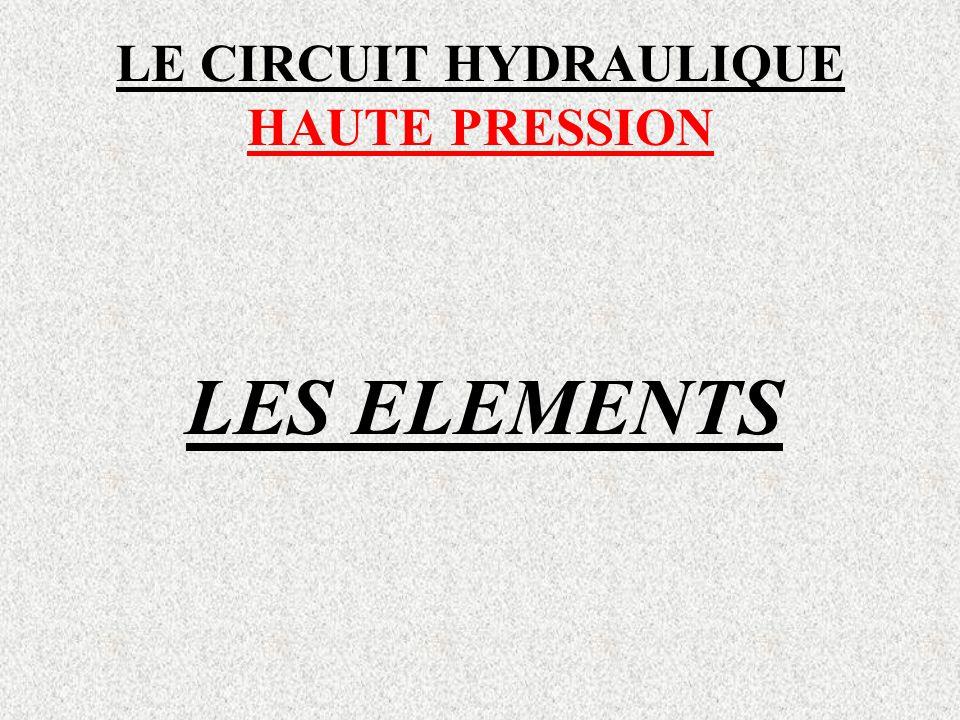 LE CIRCUIT HYDRAULIQUE HAUTE PRESSION LES ELEMENTS