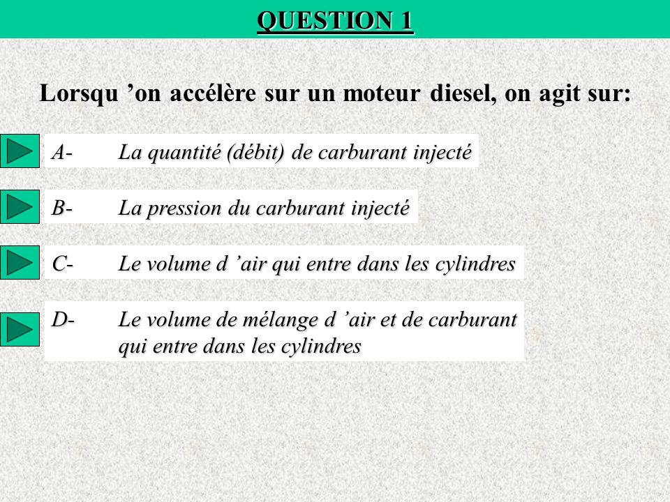 QUESTION 1 Lorsqu 'on accélère sur un moteur diesel, on agit sur: A-La quantité (débit) de carburant injecté B-La pression du carburant injecté C-Le volume d 'air qui entre dans les cylindres D-Le volume de mélange d 'air et de carburant qui entre dans les cylindres