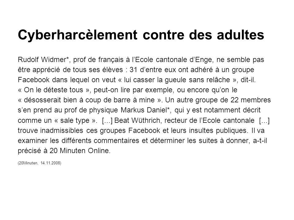 Cyberharcèlement contre des adultes Rudolf Widmer*, prof de français à l'Ecole cantonale d'Enge, ne semble pas être apprécié de tous ses élèves : 31 d