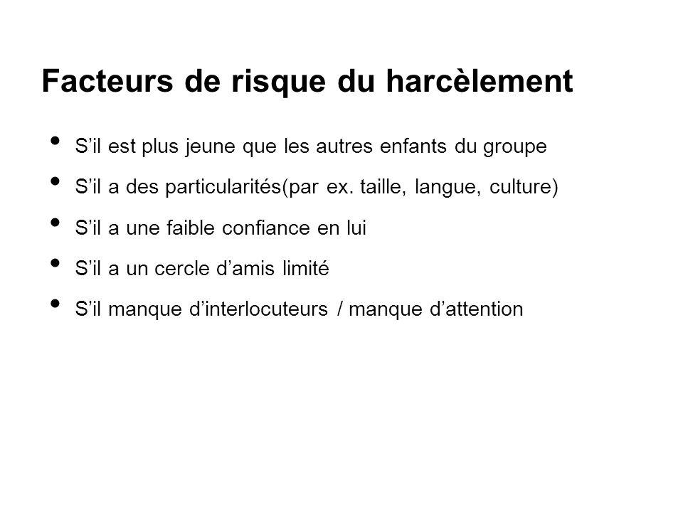 Facteurs de risque du harcèlement S'il est plus jeune que les autres enfants du groupe S'il a des particularités(par ex. taille, langue, culture) S'il