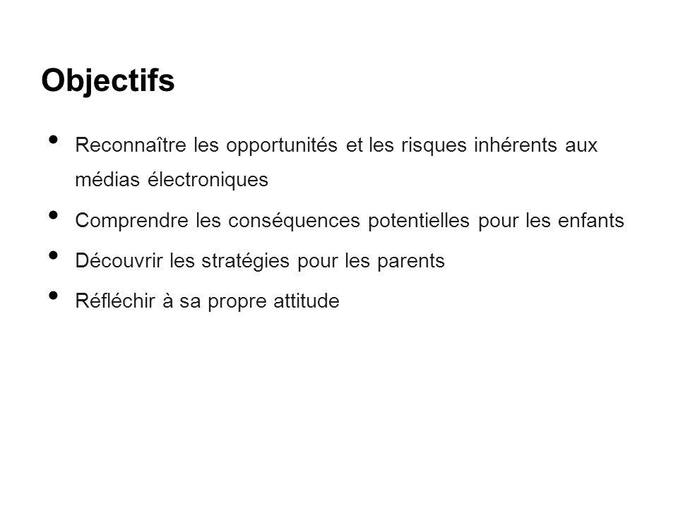 Objectifs Reconnaître les opportunités et les risques inhérents aux médias électroniques Comprendre les conséquences potentielles pour les enfants Déc