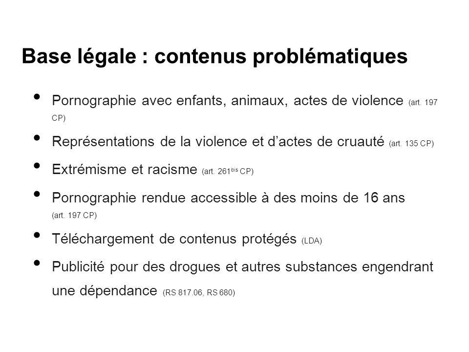 Base légale : contenus problématiques Pornographie avec enfants, animaux, actes de violence (art. 197 CP) Représentations de la violence et d'actes de