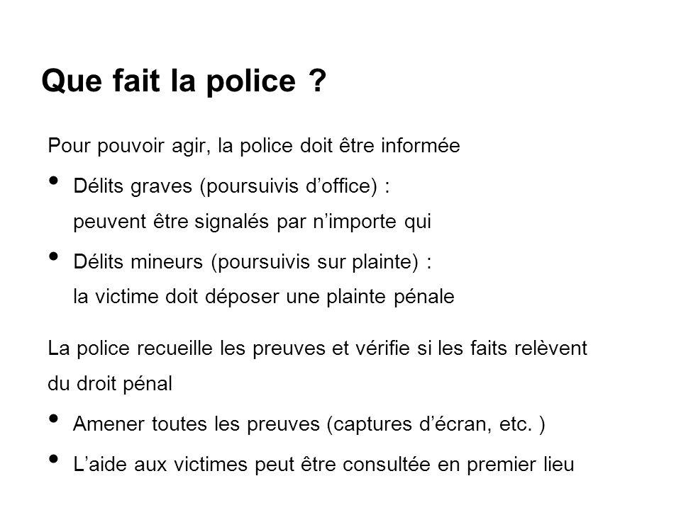 Que fait la police ? Pour pouvoir agir, la police doit être informée Délits graves (poursuivis d'office) : peuvent être signalés par n'importe qui Dél