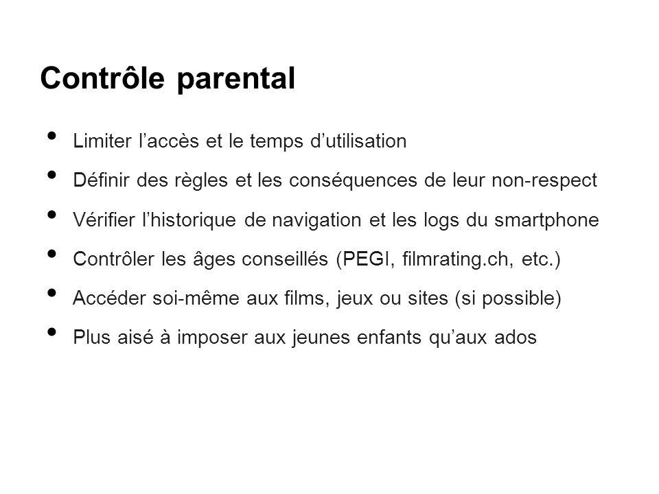 Contrôle parental Limiter l'accès et le temps d'utilisation Définir des règles et les conséquences de leur non-respect Vérifier l'historique de naviga