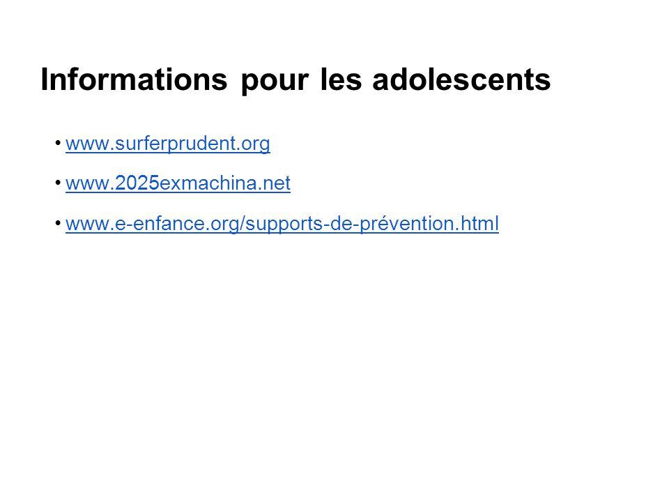 Informations pour les adolescents www.surferprudent.org www.2025exmachina.net www.e-enfance.org/supports-de-prévention.html