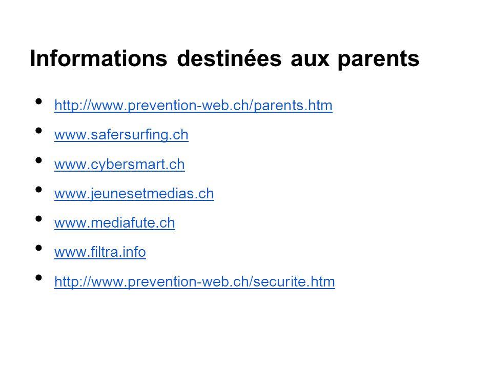 Informations destinées aux parents http://www.prevention-web.ch/parents.htm www.safersurfing.ch www.cybersmart.ch www.jeunesetmedias.ch www.mediafute.