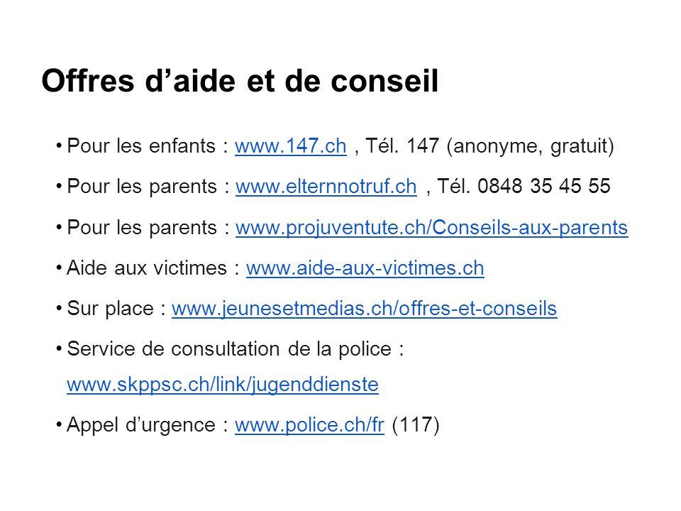 Offres d'aide et de conseil Pour les enfants : www.147.ch, Tél. 147 (anonyme, gratuit)www.147.ch Pour les parents : www.elternnotruf.ch, Tél. 0848 35