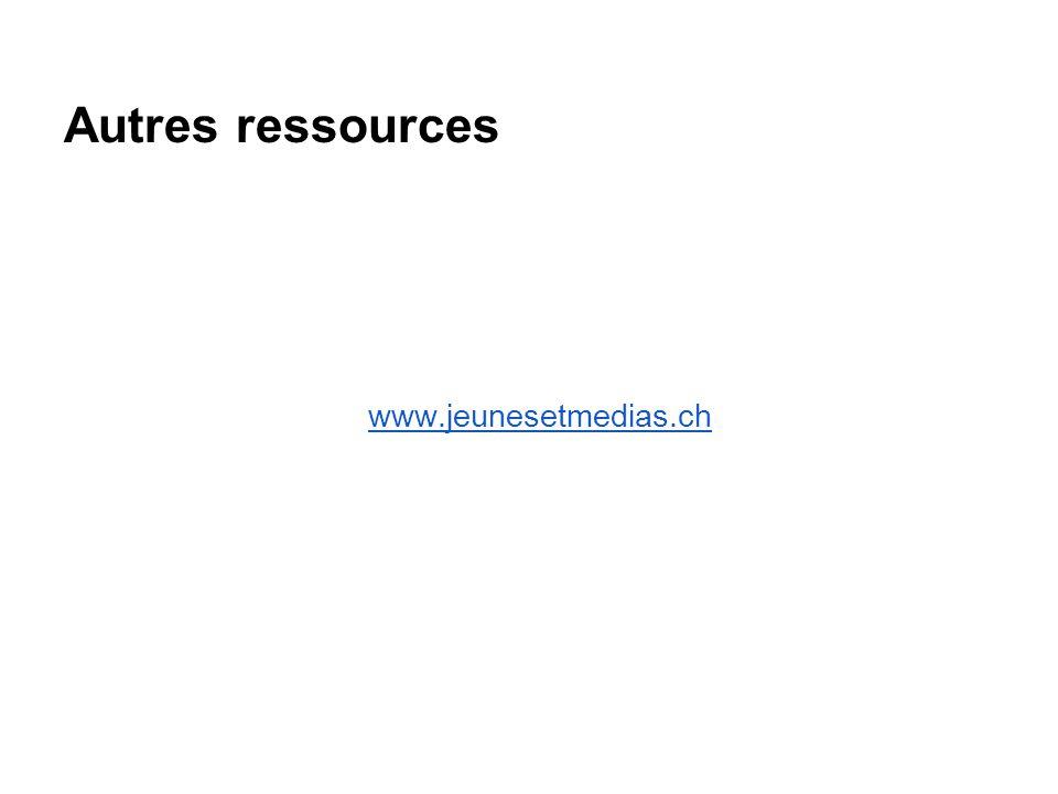 Autres ressources www.jeunesetmedias.ch