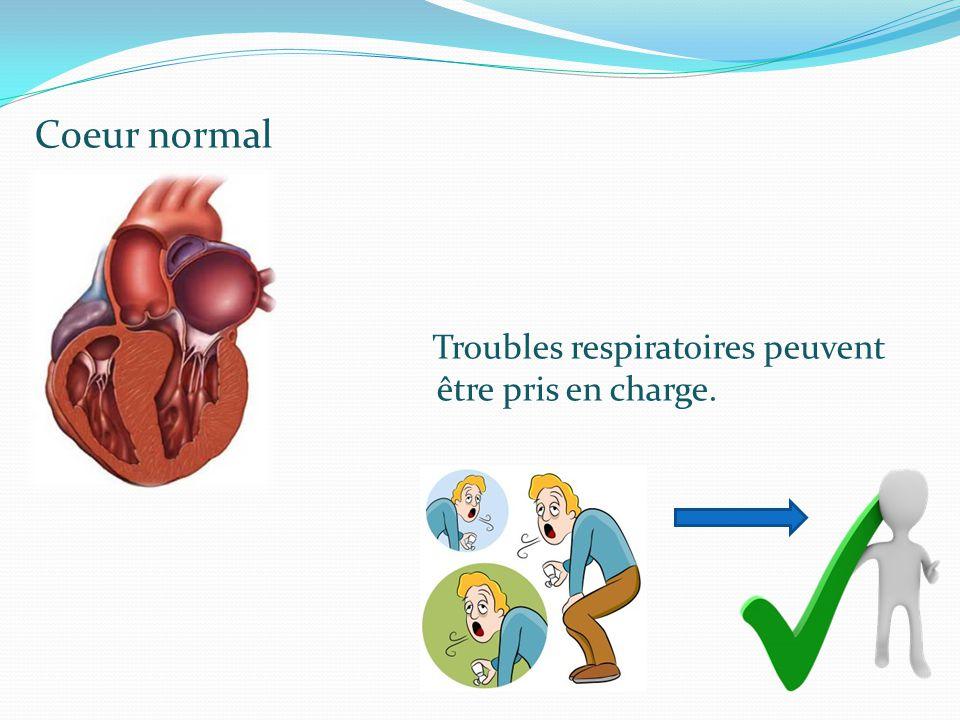 Coeur normal Troubles respiratoires peuvent être pris en charge.