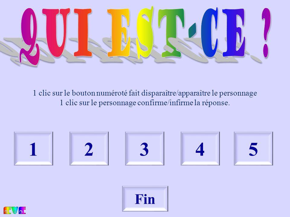1234 Fin 5 1 clic sur le bouton numéroté fait disparaître/apparaître le personnage 1 clic sur le personnage confirme/infirme la réponse.