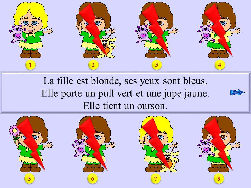 S1.1 La fille est blonde, ses yeux sont bleus.Elle porte un pull vert et une jupe jaune.
