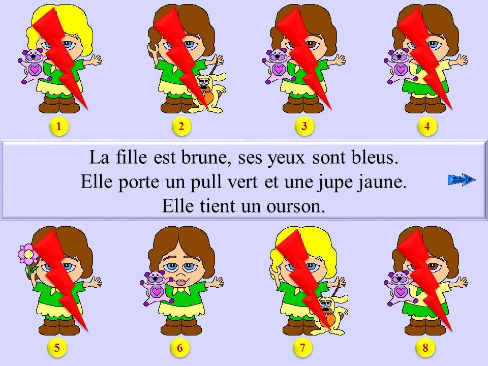 S1.6 La fille est brune, ses yeux sont bleus.Elle porte un pull vert et une jupe jaune.