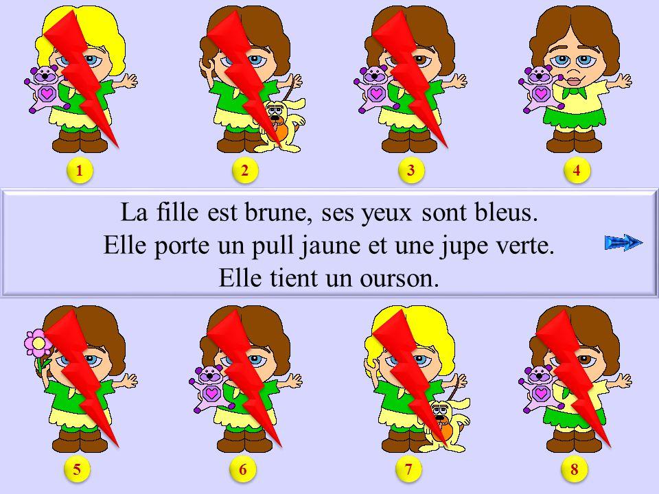 S1.4 La fille est brune, ses yeux sont bleus.Elle porte un pull jaune et une jupe verte.