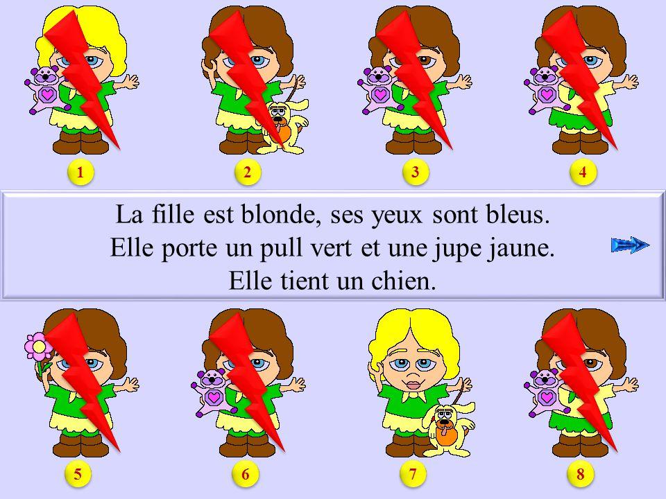 S.La fille est blonde, ses yeux sont bleus. Elle porte un pull vert et une jupe jaune.