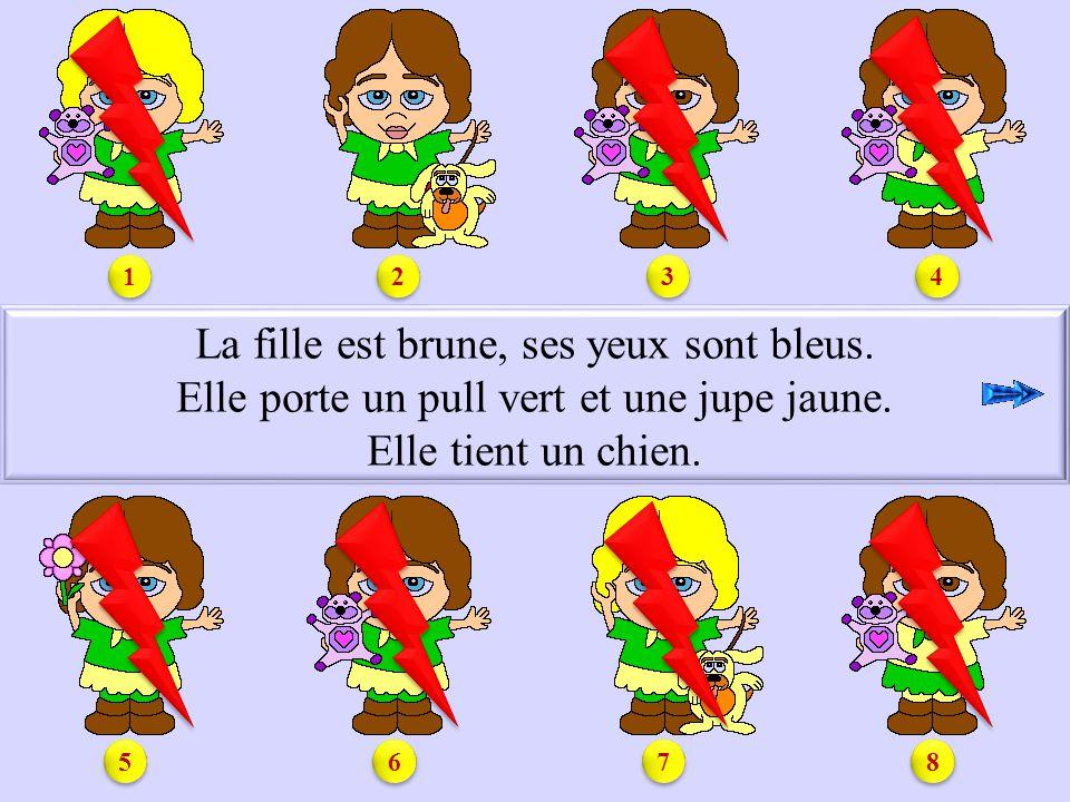 S1.2 La fille est brune, ses yeux sont bleus.Elle porte un pull vert et une jupe jaune.