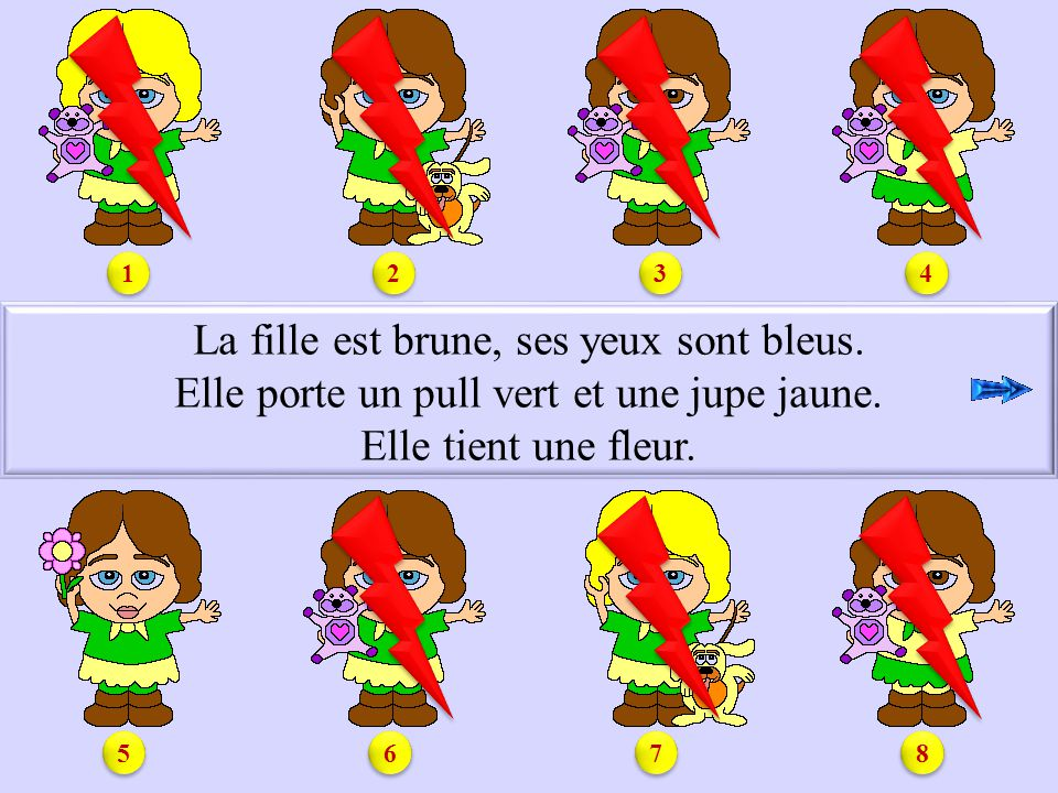 S1.5 La fille est brune, ses yeux sont bleus.Elle porte un pull vert et une jupe jaune.