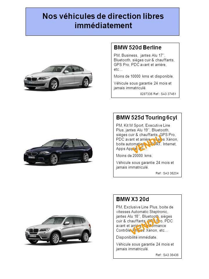 BMW 520d Berline PM, Business, jantes Alu 17'', Bluetooth, sièges cuir & chauffants, GPS Pro, PDC avant et arrière, etc… Moins de 10000 kms et disponible.