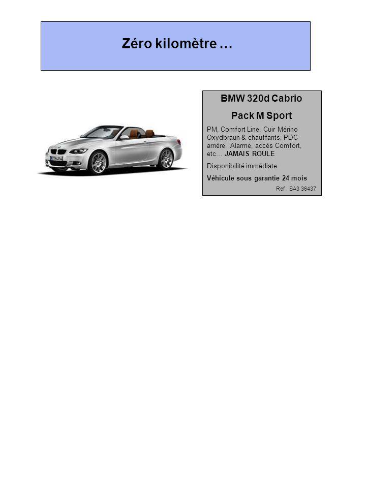 BMW 320d Cabrio Pack M Sport PM, Comfort Line, Cuir Mérino Oxydbraun & chauffants, PDC arrière, Alarme, accès Comfort, etc… JAMAIS ROULE Disponibilité