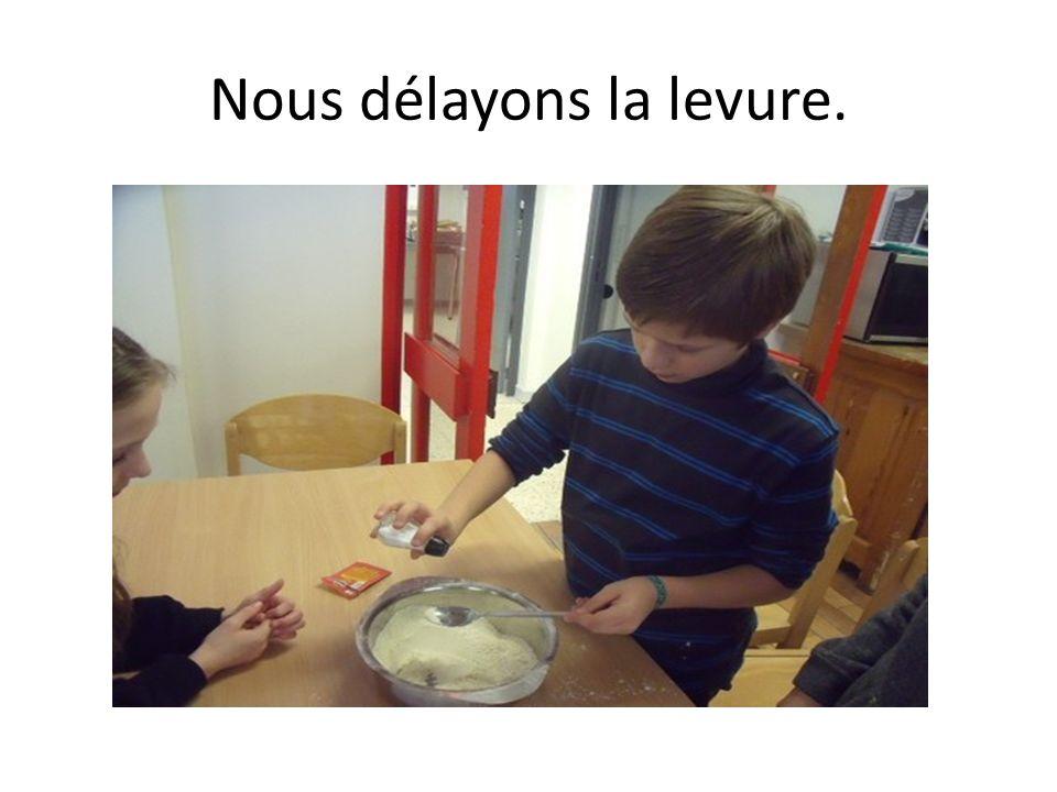 Nous plaçons la boule de pâte dans la corbeille.