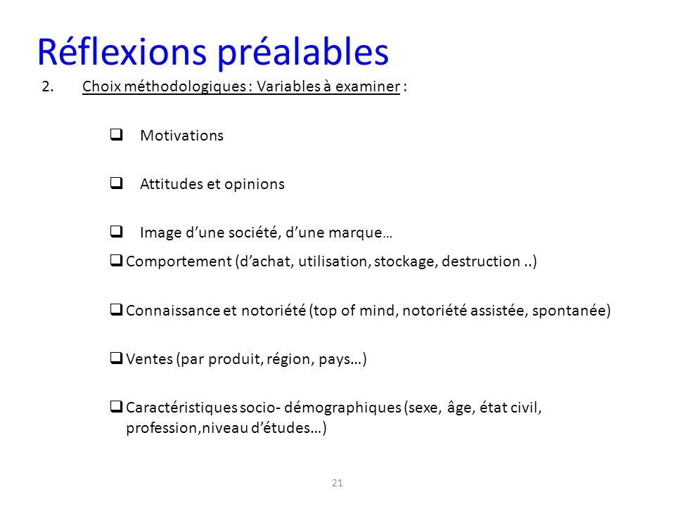 21 2.Choix méthodologiques : Variables à examiner :  Motivations  Attitudes et opinions  Image d'une société, d'une marque … Réflexions préalables