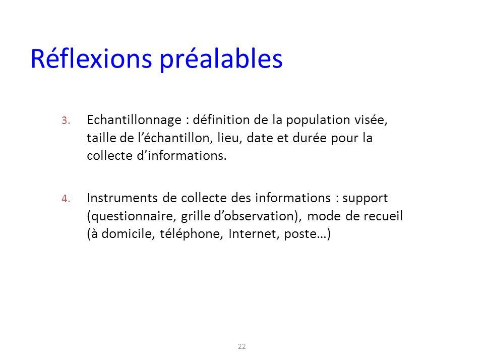 22 3. Echantillonnage : définition de la population visée, taille de l'échantillon, lieu, date et durée pour la collecte d'informations. 4. Instrument