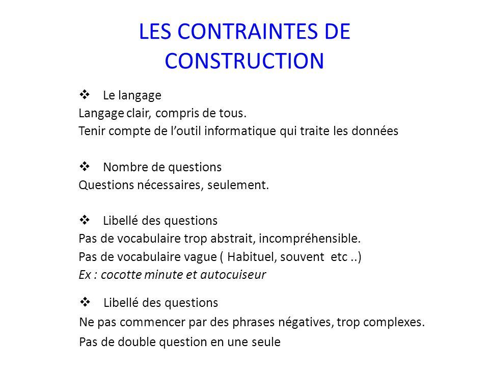 LES CONTRAINTES DE CONSTRUCTION  Le langage Langage clair, compris de tous. Tenir compte de l'outil informatique qui traite les données  Nombre de q