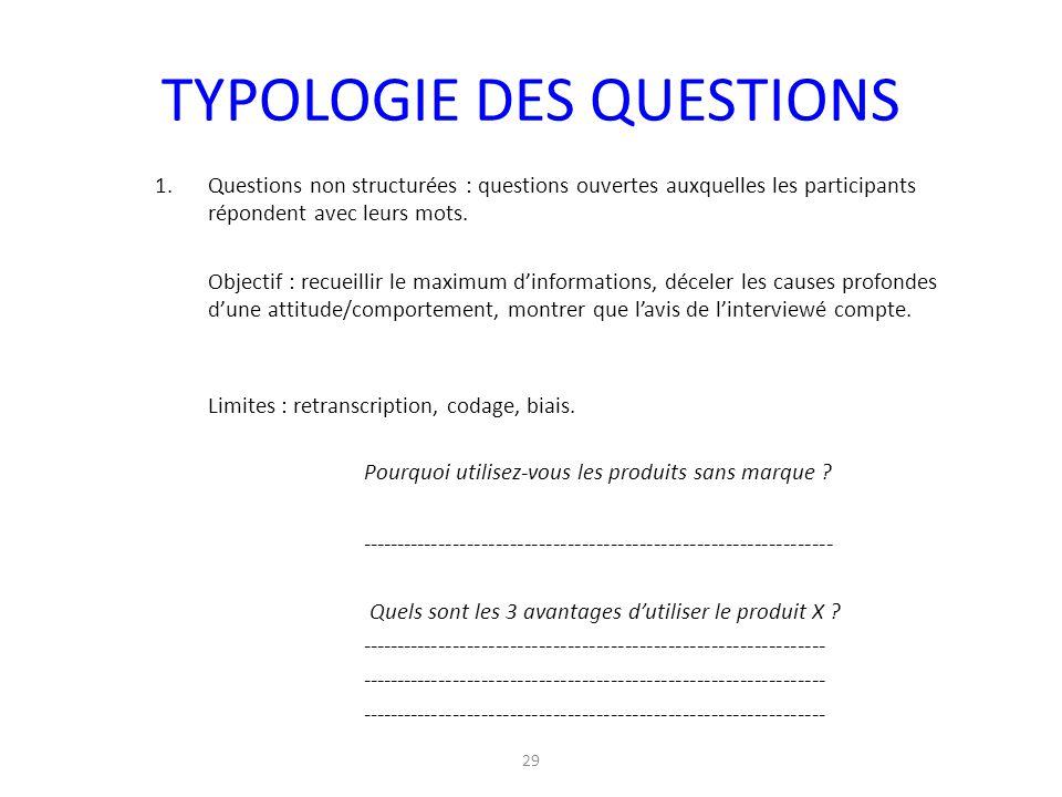 29 TYPOLOGIE DES QUESTIONS 1.Questions non structurées : questions ouvertes auxquelles les participants répondent avec leurs mots. Objectif : recueill