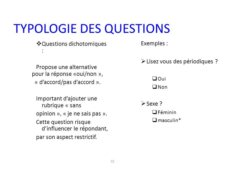 32  Questions dichotomiques : Propose une alternative pour la réponse «oui/non », « d'accord/pas d'accord ». Important d'ajouter une rubrique « sans