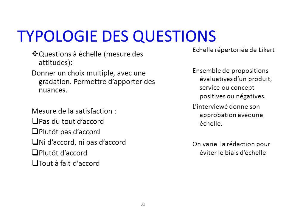33  Questions à échelle (mesure des attitudes): Donner un choix multiple, avec une gradation. Permettre d'apporter des nuances. Mesure de la satisfac
