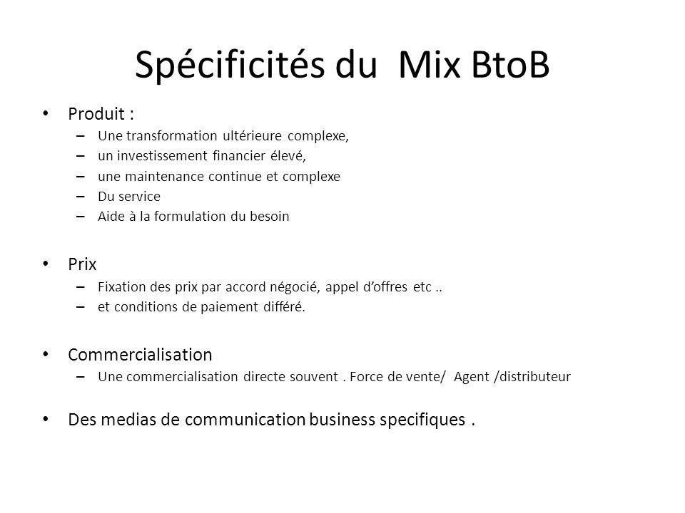 Spécificités du Mix BtoB Produit : – Une transformation ultérieure complexe, – un investissement financier élevé, – une maintenance continue et comple