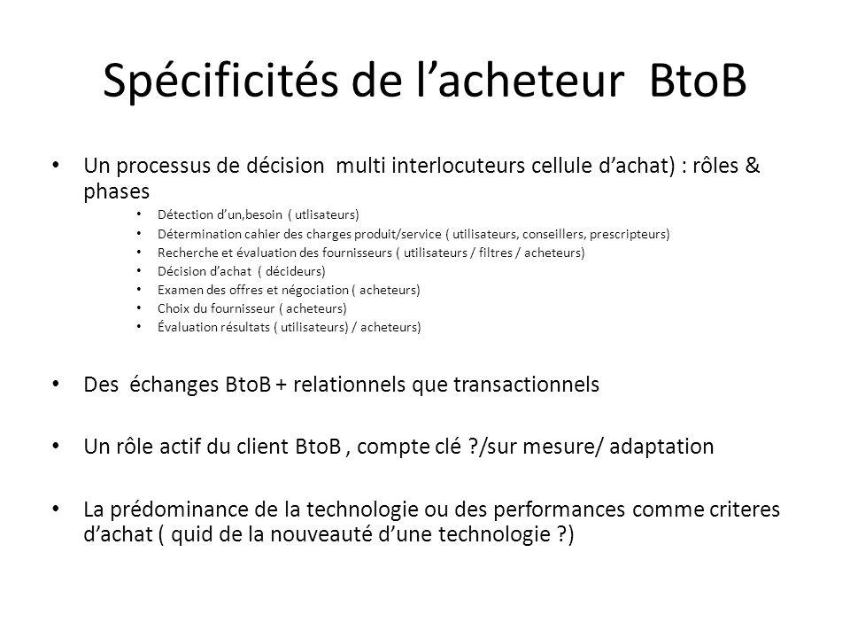 Spécificités de l'acheteur BtoB Un processus de décision multi interlocuteurs cellule d'achat) : rôles & phases Détection d'un,besoin ( utlisateurs) D