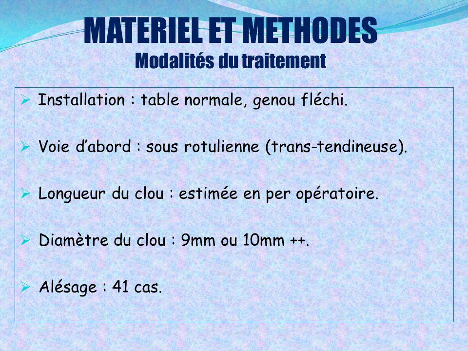 MATERIEL ET METHODES Modalités du traitement  Installation : table normale, genou fléchi.  Voie d'abord : sous rotulienne (trans-tendineuse).  Long