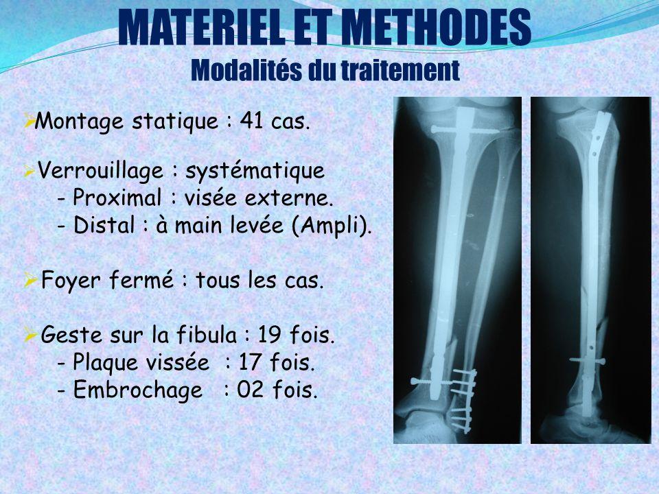 MATERIEL ET METHODES Modalités du traitement  Montage statique : 41 cas.  Verrouillage : systématique - Proximal : visée externe. - Distal : à main