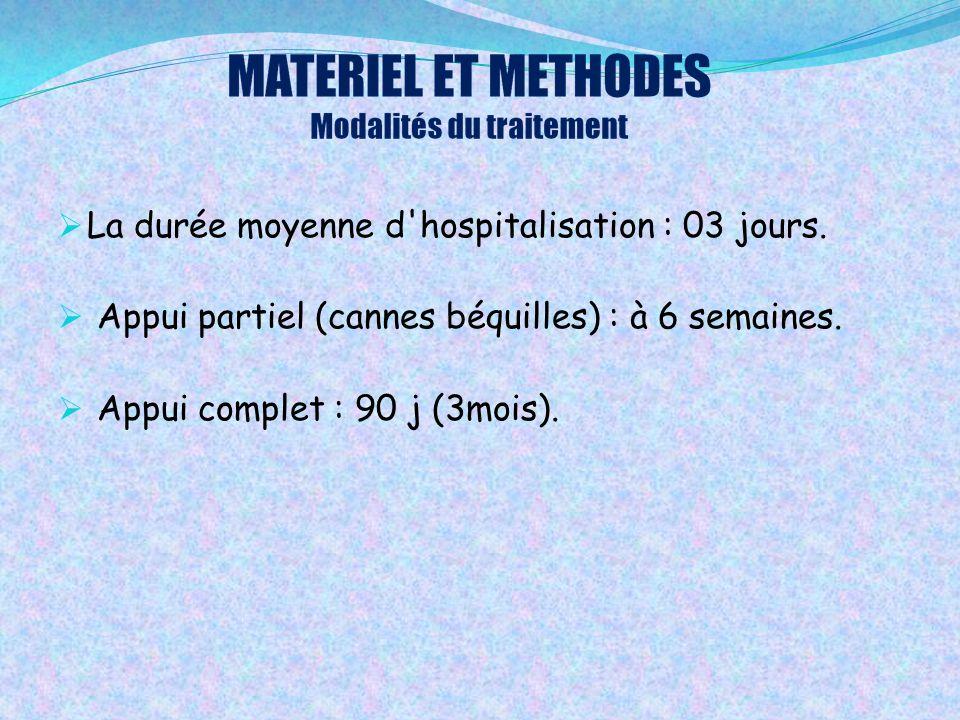  La durée moyenne d'hospitalisation : 03 jours.  Appui partiel (cannes béquilles) : à 6 semaines.  Appui complet : 90 j (3mois).