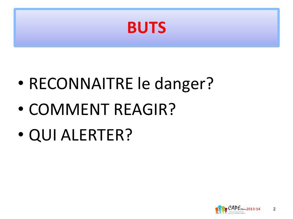 BUTS RECONNAITRE le danger? COMMENT REAGIR? QUI ALERTER? 2 2013-14