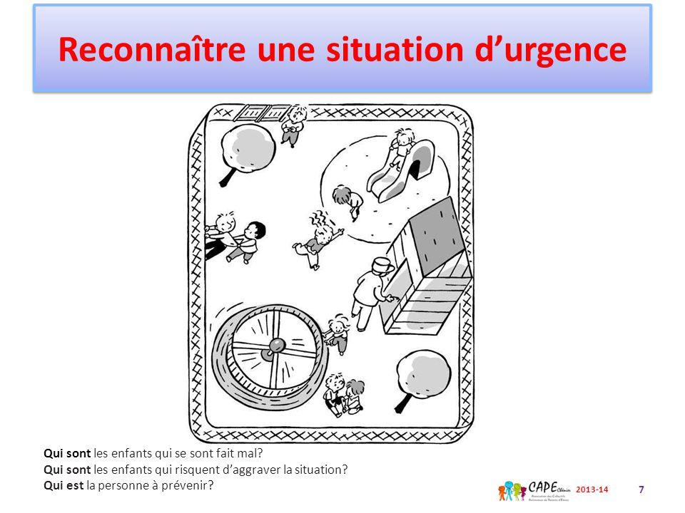 Les enfants qui se sont fait mal Les enfants qui risquent d'aggraver la situation La personne à prévenir Reconnaître une situation d'urgence 8 2013-14