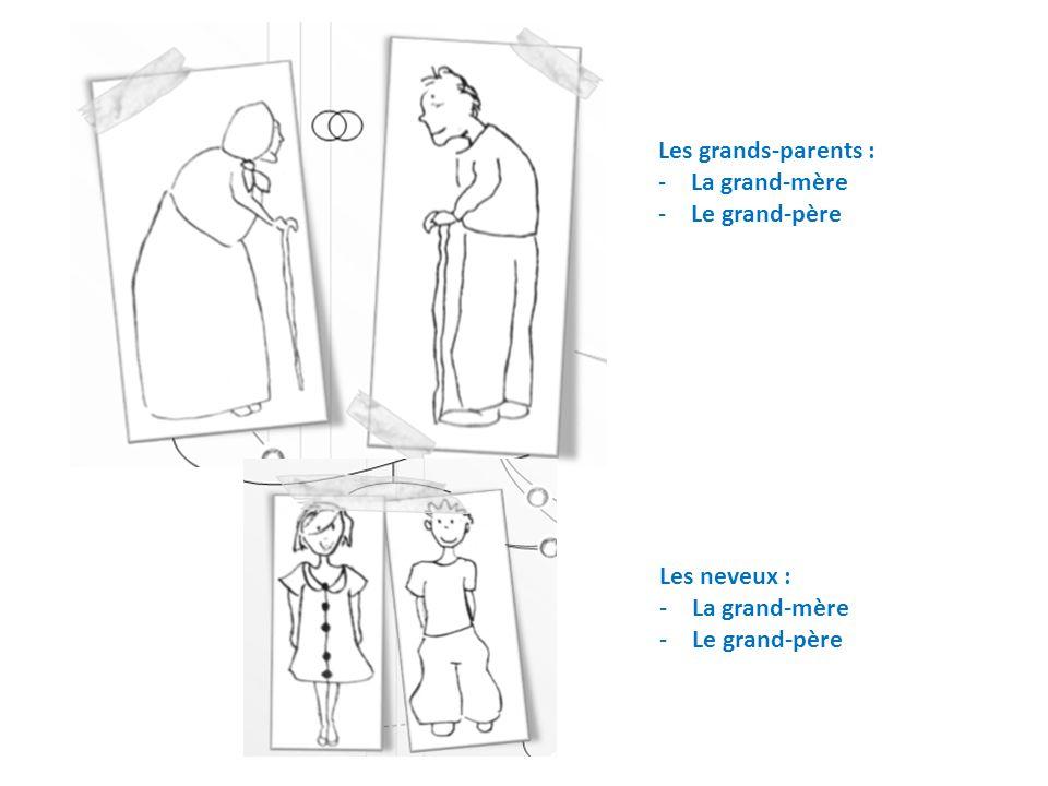 Les grands-parents : -La grand-mère -Le grand-père Les neveux : -La grand-mère -Le grand-père