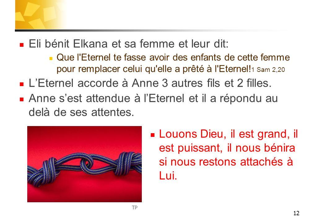 Eli bénit Elkana et sa femme et leur dit: Que l Eternel te fasse avoir des enfants de cette femme pour remplacer celui qu elle a prêté à l Eternel.