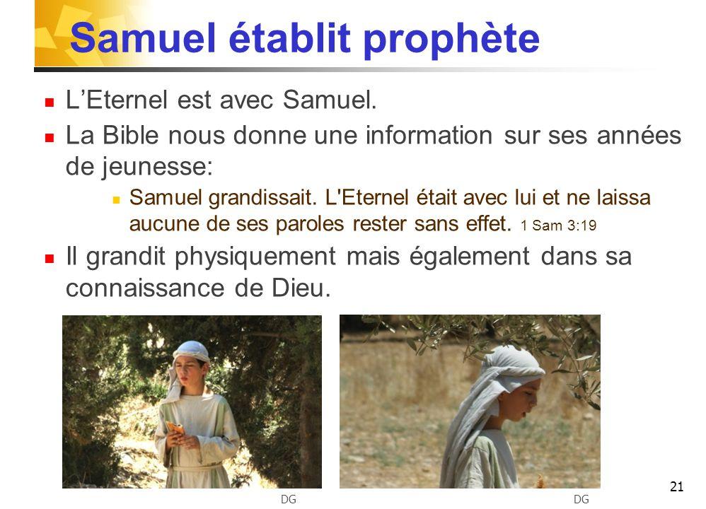 Samuel établit prophète L'Eternel est avec Samuel.