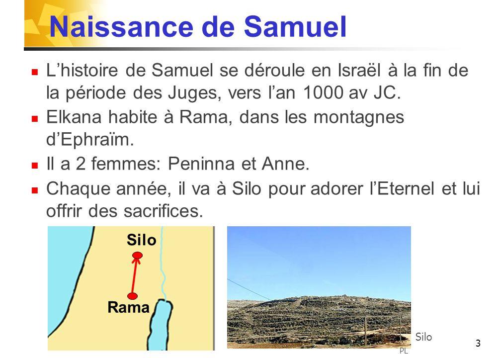 3 Naissance de Samuel L'histoire de Samuel se déroule en Israël à la fin de la période des Juges, vers l'an 1000 av JC.
