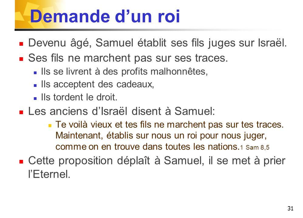Demande d'un roi Devenu âgé, Samuel établit ses fils juges sur Israël.