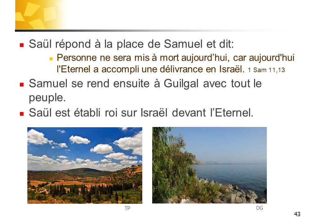 Saül répond à la place de Samuel et dit: Personne ne sera mis à mort aujourd'hui, car aujourd hui l Eternel a accompli une délivrance en Israël.