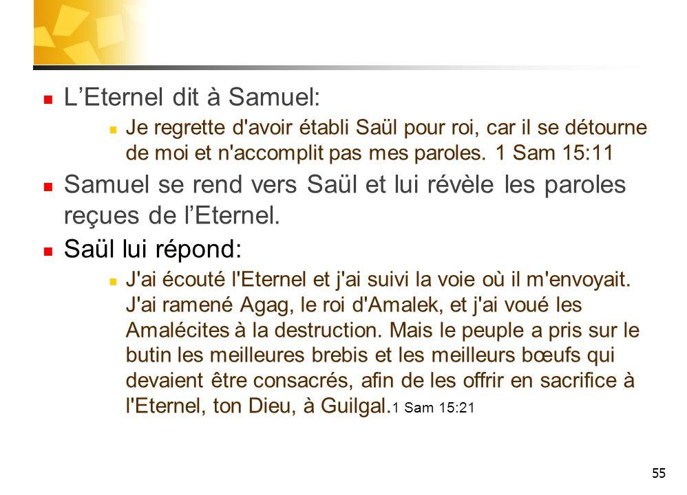 L'Eternel dit à Samuel: Je regrette d avoir établi Saül pour roi, car il se détourne de moi et n accomplit pas mes paroles.